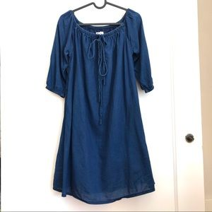 Madewell Blue 3/4 Sleeves Shift Casual Dress